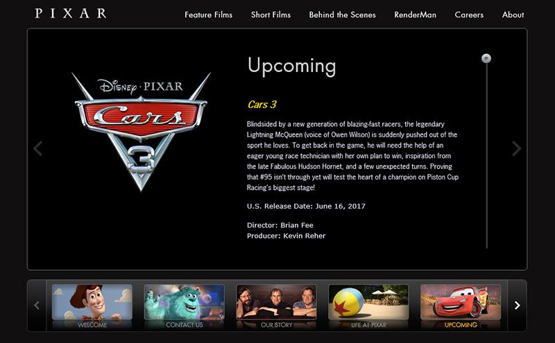 PIXARのWEBサイトのページ・カーズ3の告知があります。