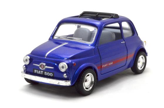 キンスマート/フィアット500 青 プルバックモーター付き