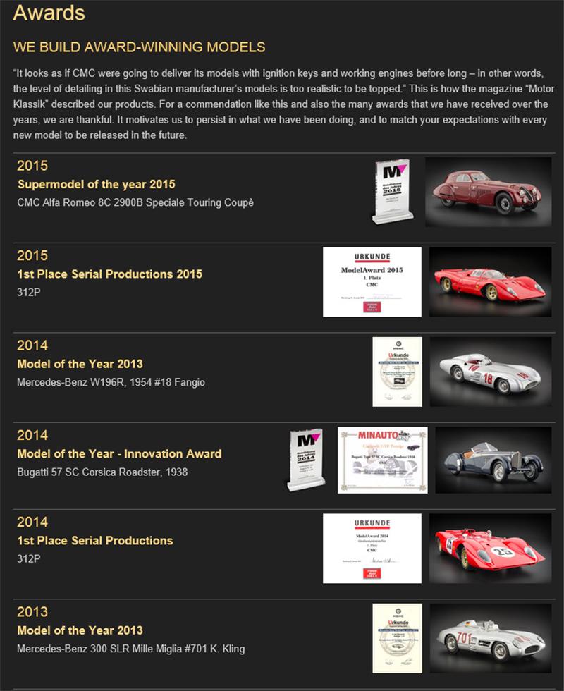 CMCの製品は多くの賞を受賞しています。